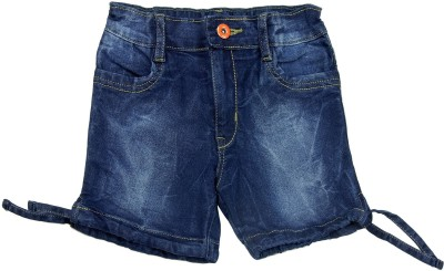 Nascent Short For Girls Solid Cotton Linen Blend, Nylon Blend, Cotton Linen Blend(Dark Blue, Pack of 1)