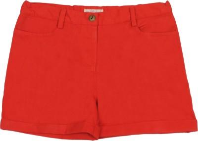 My Little Lambs Short For Girls Cotton Linen Blend, Nylon Blend, Cotton Linen Blend(Red, Pack of 1)