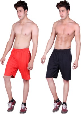 Gag Wear Solid Men's Red, Black Sports Shorts