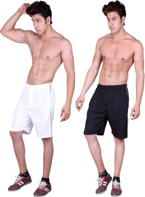 Gag Wear Solid Men's White, Black Sports Shorts