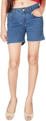 People Solid Women Blue Basic Shorts