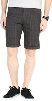 3 Concept Solid Men's Brown Basic Shorts