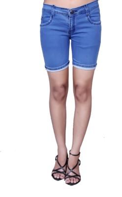 Nifty Solid Women Denim Light Blue Denim Shorts