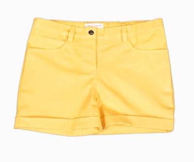 My Little Lambs Short For Girls Solid Cotton Linen Blend, Nylon Blend, Cotton Linen Blend(Yellow, Pack of 1)