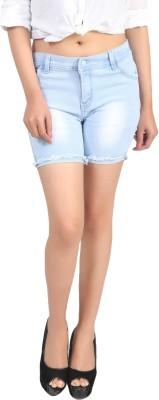 Ico Blue Star Self Design Women Light Blue Denim Shorts
