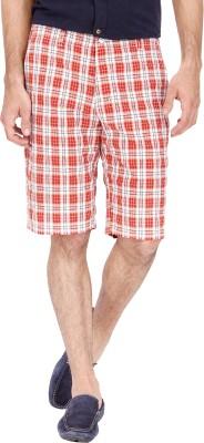 Urbantouch Checkered Men's Red, White Basic Shorts