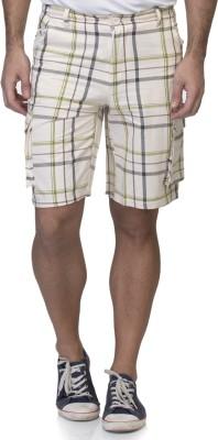 LA ATTIRE Checkered Men's White Beach Shorts, Night Shorts, Sports Shorts