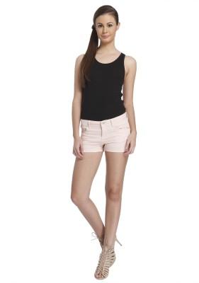 Only Solid Women's Pink Denim Shorts at flipkart