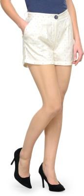 Street 9 Polka Print Women White Hotpants at flipkart