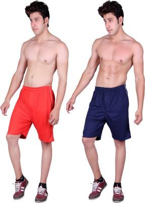 Gag Wear Solid Men's Red, Dark Blue Sports Shorts