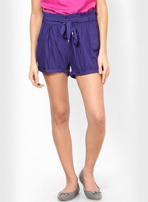 Vero Moda Solid Women Blue Baggy Shorts at flipkart