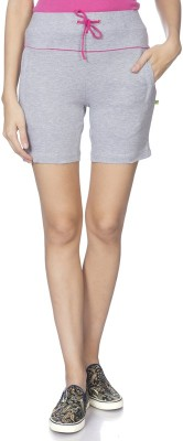 Goldstroms Solid Women Grey Sports Shorts