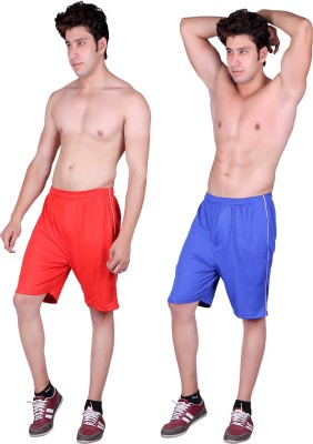 Gag Wear Solid Men's Red, Blue Sports Shorts