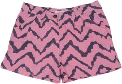 My Little Lambs Short For Girls Chevron/Zig Zag Cotton Linen Blend, Nylon Blend, Cotton Linen Blend(Pink, Pack of 1)