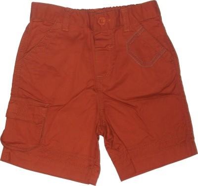 Red Rose Short For Boys Cotton Linen Blend, Cotton Nylon Blend, Cotton Linen Blend(Brown)