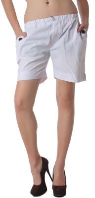 TEEMOODS Solid Women White Basic Shorts TEEMOODS Women's Shorts