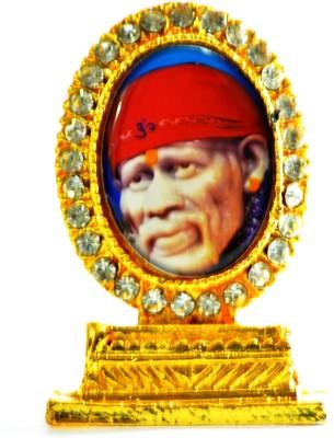 Kulin Oval Shape - Stone Studded - Sai Baba idol - for Table Decor, office desk, car dashboard. Showpiece  -  5 cm(Brass, Multicolor)  available at flipkart for Rs.265