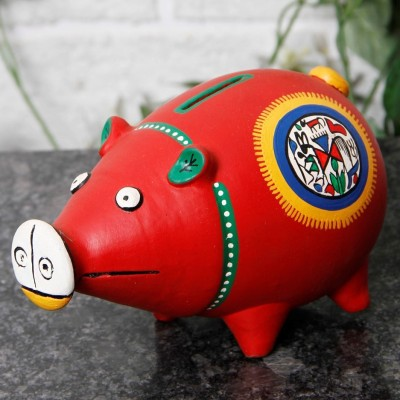 Unravel India Teracotta Red Warli handpainted Piggy Bank Showpiece  -  11 cm(Terracotta, Red)  available at flipkart for Rs.899