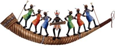 eCraftIndia Dancing Tribals On Shehnai Wall Hanging Decorative Showpiece  -  17.7 cm(Iron, Orange, Brown, Blue, Green) at flipkart