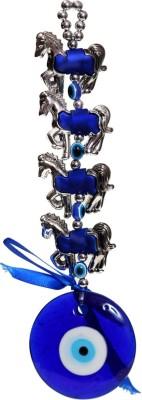 Bgroovy Evil Eye Horse Hanging Decorative Showpiece  -  22 cm(Glass, Plastic, Dark Blue, White)
