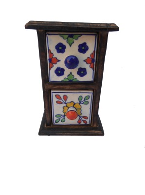 HANDICRAFT ANTIQUE LOOK MADE WOODEN CHEST WITH 2DRAWER IN IT Showpiece  -  19 cm(Wooden, Ceramic, Multicolor)