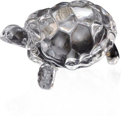 SB Enterprises Feng Shui Clear Crystal Tortoise Turtle For Shining Your Luck Decorative Showpiece  -  3 cm(Crystal, Silver)