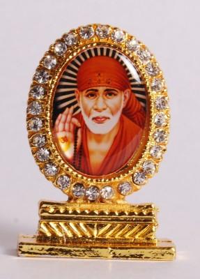 Kulin Oval Shape - Stone Studded - Sai Baba idol - for Table Decor, office desk, car dashboard. Decorative Showpiece - 5 cm(Brass, Multicolor)