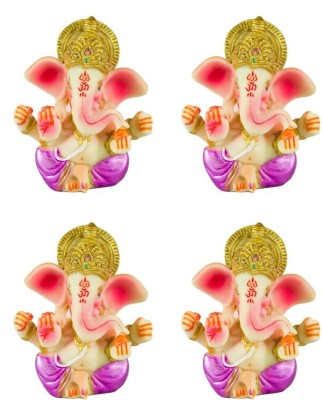 Gods & Gifts Lord Ganesha | Ganesh | Ganpati ( Combo of 4 Statues) Showpiece  -  8 cm(Polyresin, Multicolor)  available at flipkart for Rs.400