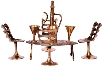 Shop Jaipuri Handicraft Home DéCor Unique Design Dining Table Chair Maharaja Set Decorative Showpiece  -  10.2 cm(Brass, Gold)