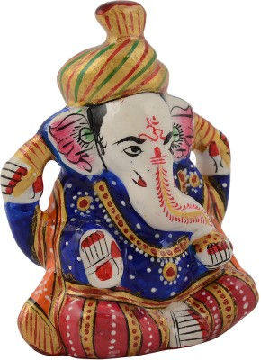 Rajrang Lord Ganesha Decorative Showpiece   5 cm Aluminium, Multicolor