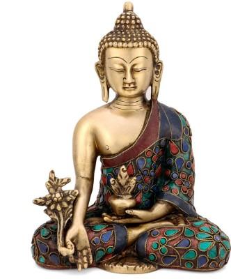 Collectible India Medicine Buddha Idol Tibetan Buddhist Deity Brass Turquoise Statue Buddhist Home Decor Decorative Showpiece  -  20 cm(Brass, Multicolor) at flipkart
