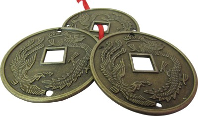 Speakfortune.com Fenghui Lucky Coin With Dragon Engraved Showpiece  -  5 cm(Brass, Gold, Multicolor)  available at flipkart for Rs.159