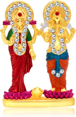 Kulin Religious Idols of Lord Lakshmi Ganesh Premium Statue, best choice for Car Dashboard Décor Decorative Showpiece  -  4 cm(Gold Plated, Multicolor)  available at flipkart for Rs.280