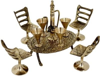 Kaarigar Unique Design Dining Table Chair Maharaja Set -196 Decorative Showpiece  -  5.1 cm(Brass, Gold)