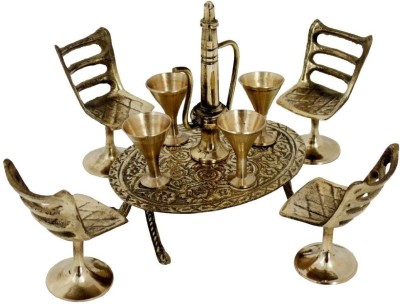 Total Furnishing Unique Design Dining Table Chair Maharaja Set Showpiece  -  3 cm(Brass, Gold)  available at flipkart for Rs.299