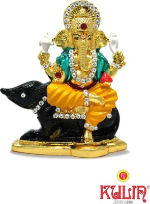 Kulin God Ganesh | Ganpati | Lord Ganesha Idol Sitting On Mouse - Statue Gift item Decorative Showpiece  -  7 cm(Gold Plated, Multicolor)  available at flipkart for Rs.450