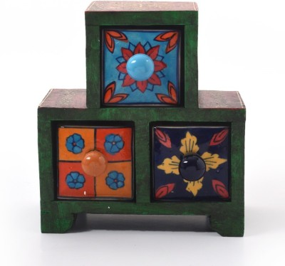 Indian Gift Emporium Wooden Ceramic Blue Pottery Triple Drawer Set 263 Showpiece  -  10.16 cm(Wooden, Multicolor)