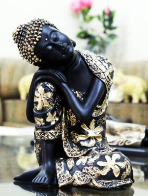 Craft Junction Black Golden Thinking Lord Buddha Showpiece  -  26 cm
