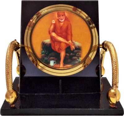 Bulb Centre Hindu God Idol Sai Baba Temple Chair Frame For Car Dashboard, Gifting (M-027) Showpiece  -  6 cm(Plastic, Gold Plated, Brass, Multicolor)  available at flipkart for Rs.199