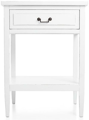 WOOD CREATION Solid Wood Side Table(Finish Color - WHITE)