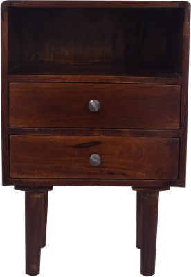 Kingscrafts Solid Wood Bedside Table(Finish Color - Walnut Brown)