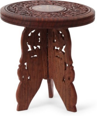 Simran Handicrafts SHROUND Solid Wood Side Table(Finish Color - Walnut Brown)