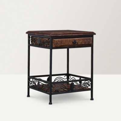 Onlineshoppee AFR965 Solid Wood End Table(Finish Color - Walnut Brown)