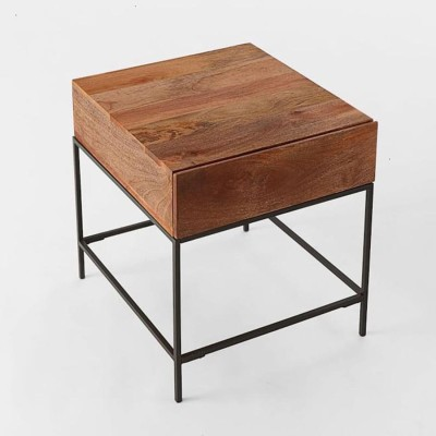 WOOD CREATION Solid Wood Side Table(Finish Color - Teak)