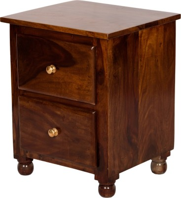 Induscraft Solid Wood Bedside Table(Finish Color - Brown)