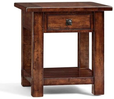 WOOD CREATION Solid Wood Side Table(Finish Color - Walnut)