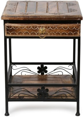 Onlineshoppee AFR965-sl Solid Wood Side Table(Finish Color - walnut brown)