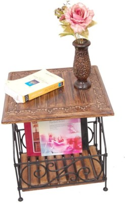 Onlineshoppee AFR1043 Solid Wood Side Table(Finish Color - Walnut Brown)