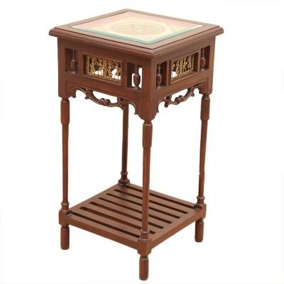 ExclusiveLane Teak Wood Solid Wood End Table(Finish Color - Walnut Brown)