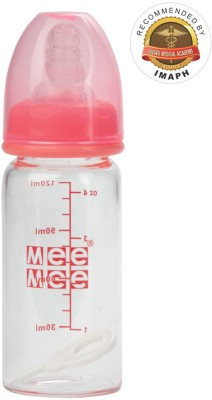 MeeMee Premium Glass Feeding Bottle (120Ml)(Pink)